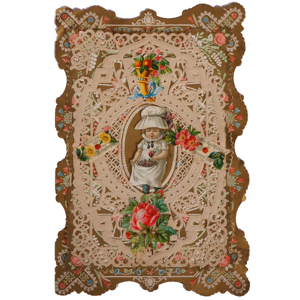Antique Valentine Paper Lace Card