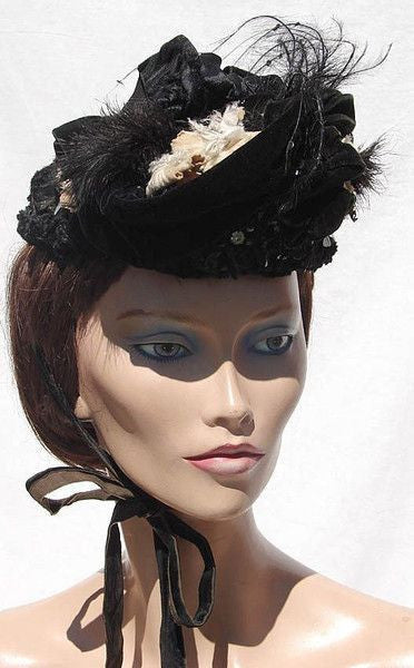 1860s Victorian Hat - Feathered Silk Bonnet Velvet Trim, Jet Beading, Sequins Brooch - Poppy's Vintage Clothing