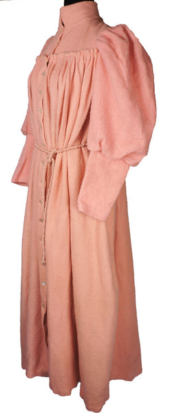 Victorian Dressing Gown Pink Fleece Wool Flannel with Leg O\' Mutton Sl