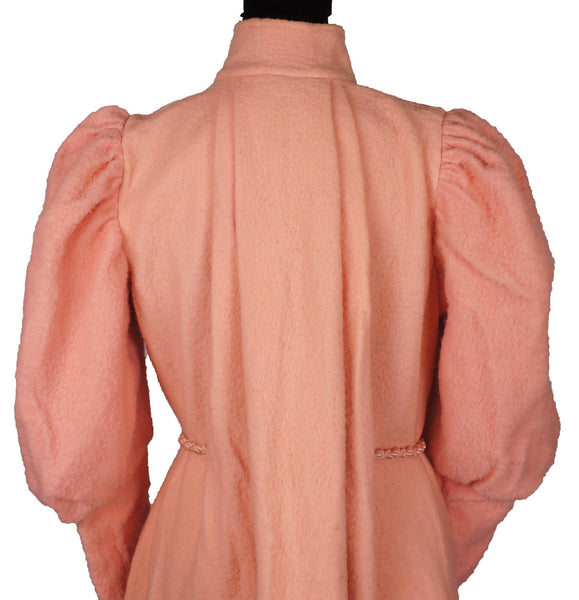 5d50f850bea4 Victorian Dressing Gown Pink Fleece Wool Flannel with Leg O' Mutton Sleeve