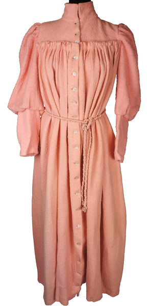 Antique Victorian Dressing Gown Pink Fleece Wool Flannel with Leg O' Mutton Sleeve - Poppy's Vintage Clothing