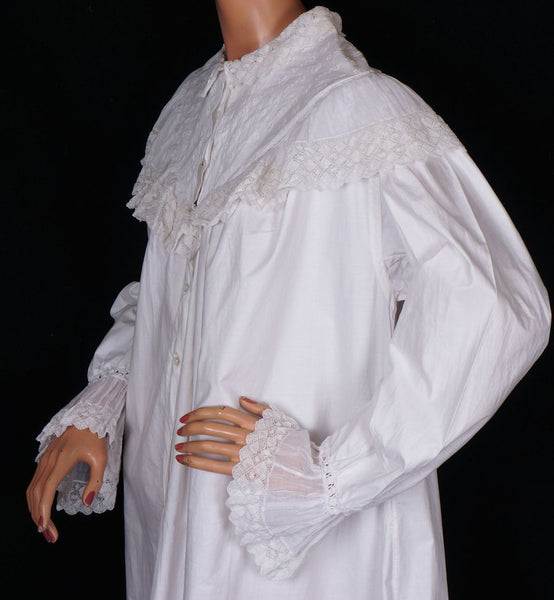 Antique Cotton Nightgown with Lace Victorian Night Dress L XTall