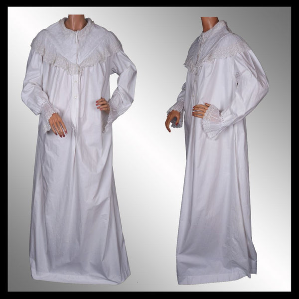 Antique Cotton Nightgown with Lace Victorian Night Dress L XTall 8828fca07