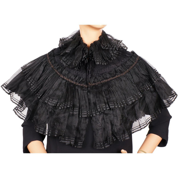 Antique Victorian Mourning Shawl Jet Beaded Black Silk Voile Mantelet or Capelet - Poppy's Vintage Clothing