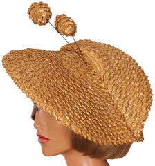 Vintage 1940s Wide Brim Straw Hat Folded Pancake Shape Ladies Size S / M / L - Poppy's Vintage Clothing