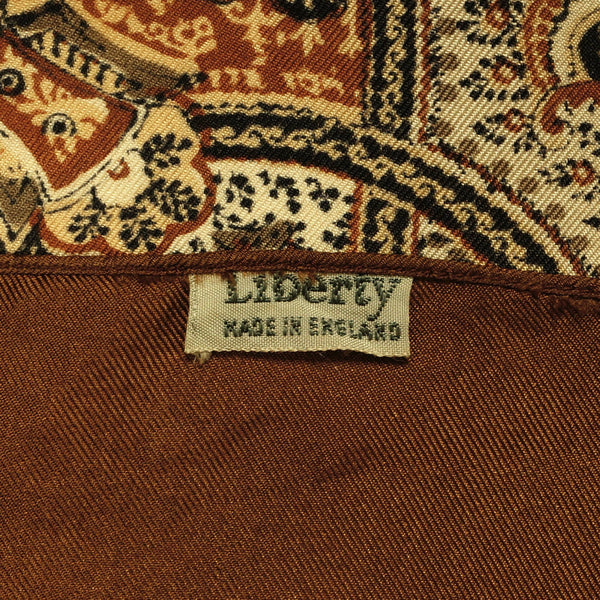 7a93f97c484e6 Vintage Liberty of London Silk Scarf Brown w Cloth Label 1950s Made in