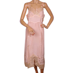 Vintage 1940s Pink Slip with Lace Trim by Dore Canada Size M Excellent - Poppy's Vintage Clothing