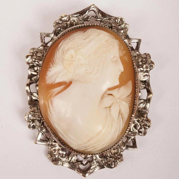Vintage Cameo Brooch Pendant - Hand Carved - Silver Plated Mount - Poppy's Vintage Clothing