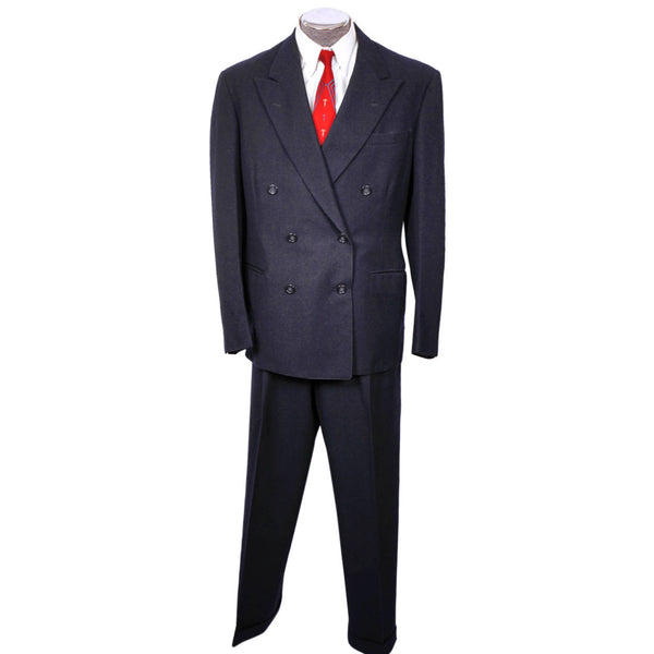 Vintage 1950s Mens Suit Blue Gab Wool Dated 1954 Size L 42 Tall - Poppy's Vintage Clothing