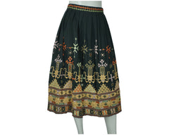 Vintage 1970s Indian Skirt Banjara Embroidered w Shisha Mirror Embroidery Size M - Poppy's Vintage Clothing