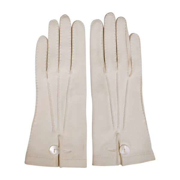 Vintage French Off White Antelope Suede Leather Gloves Ladies Size Small - Poppy's Vintage Clothing