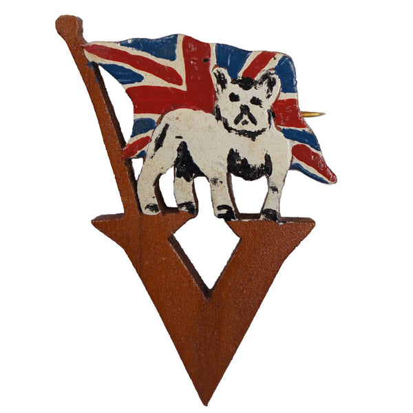 WWII British Bulldog V for Victory Wood Pin Patriotic Sweetheart Lapel Brooch - Poppy's Vintage Clothing