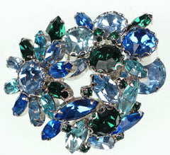 Weiss 50s Vintage Rhinestone Brooch Ice Blue & Green Stones on Silver Rhodium Setting - Poppy's Vintage Clothing