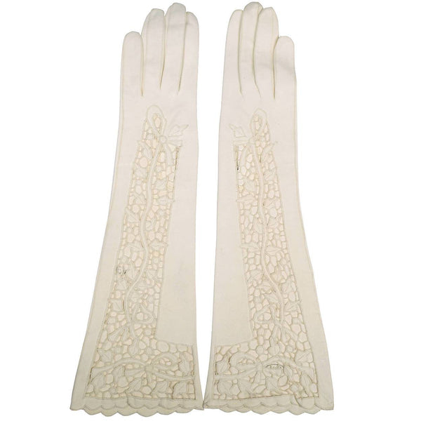 Vintage 1950s White Antelope Leather Cutwork Lace Gloves Size 6.5 Excellent - Poppy's Vintage Clothing