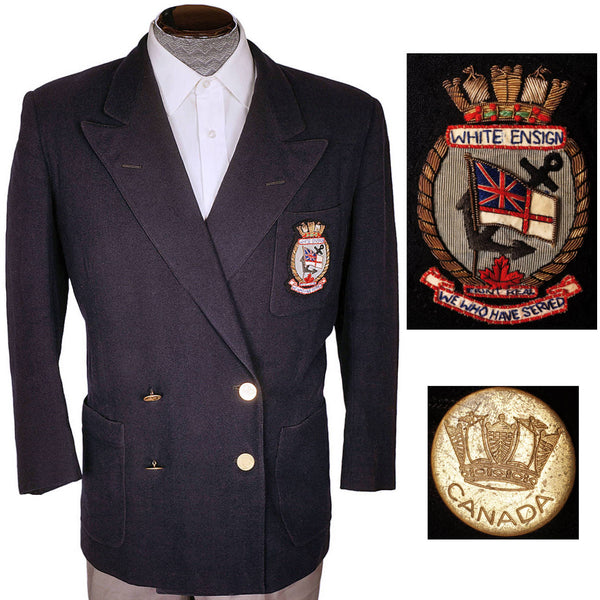 Vintage RCN 1940s White Ensign Club Crest Blue Blazer Canadian Naval Veteran - Poppy's Vintage Clothing