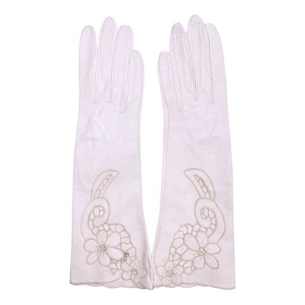 Vintage NOS Ladies White Leather Cutwork Gloves Unused Size 6.5 - Poppy's Vintage Clothing