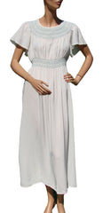 1940s Nightgown Grecian Goddess Nightie in White Rayon with Smocking - Poppy's Vintage Clothing