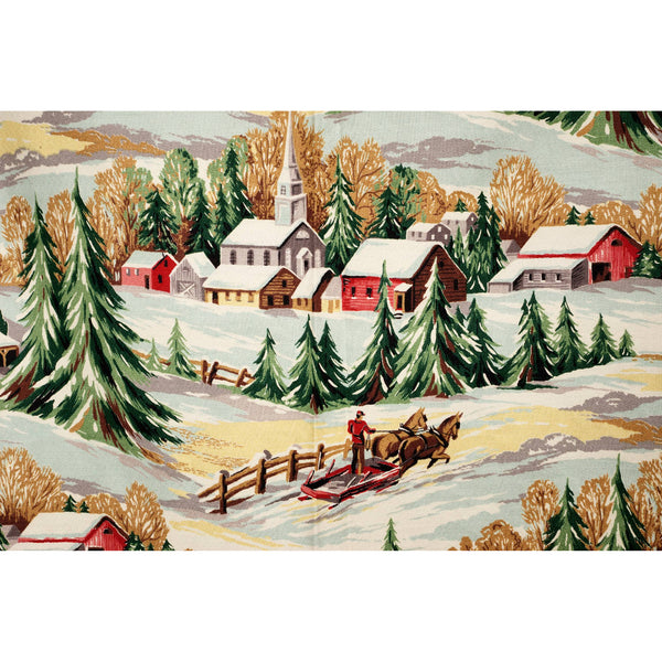 1940s Unused Winter Country Village Barkcloth Drapery Fabric