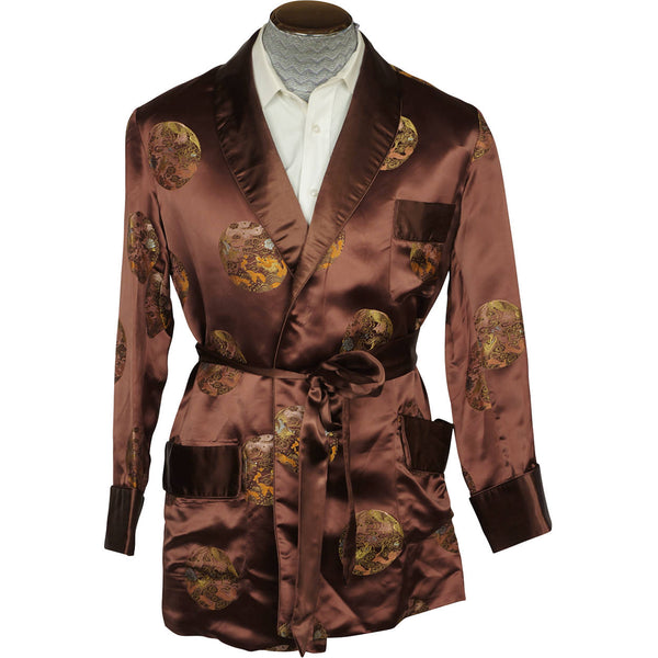 Vintage 1960s Brown Satin Smoking Jacket Wong Sons Shanghai China Size 40 - Poppy's Vintage Clothing