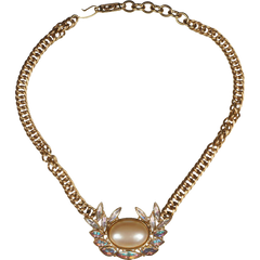 Vintage 1980s YSL Faux Pearl & Rhinestone Necklace - Poppy's Vintage Clothing