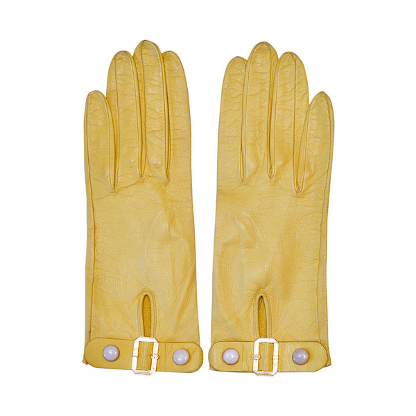 Vintage Yellow Kid Leather Gloves Snap Belt Closure Ladies Small - Poppy's Vintage Clothing