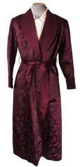 Vintage 1940s Purple Silk Mens Dressing Gown Made in Hong Kong