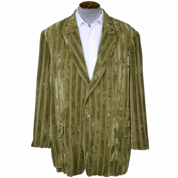 Vintage 1980s Yohji Yamamoto Mens Jacket Oversized Green Velvet Stripes Size S L - Poppy's Vintage Clothing