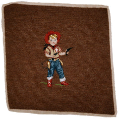 Vintage 40s 50s Petit Point Needlepoint Little Boy Playing Cowboy Cushion Cover - Poppy's Vintage Clothing
