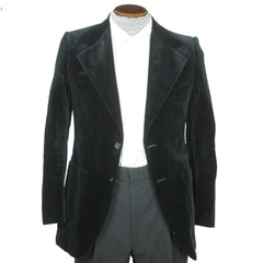 Vintage 1970s Yves Saint Laurent Black Velvet Mens Jacket Made in France Small - Poppy's Vintage Clothing