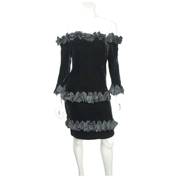 Vintage 1980s Yves Saint Laurent Dress in Black Velvet with Ruffles Size M - Poppy's Vintage Clothing