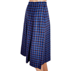 Vintage Yves Saint Laurent Rive Gauche Paris Wool Skirt Blue w Orange Check XS - Poppy's Vintage Clothing