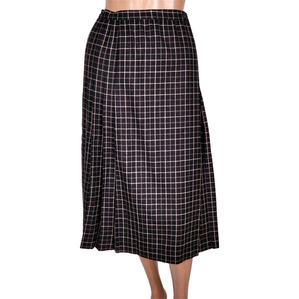 Vintage Yves Saint Laurent Paris Wool Kilt Style Wrap Skirt Black w Check Size S - Poppy's Vintage Clothing