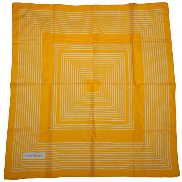 Vintage 1970s Yves Saint Laurent Geometric Scarf Yellow White Squares 35.5 Inch - Poppy's Vintage Clothing