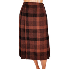 Vintage Yves Saint Laurent Wool Kilt Wrap Skirt 1970s Rive Gauche Paris Plaid S - Poppy's Vintage Clothing