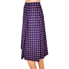 Vintage Yves Saint Laurent Rive Gauche Paris Wool Skirt Purple w Yellow Check XS - Poppy's Vintage Clothing