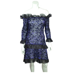 Vintage 1980s Yves Saint Laurent Violet Blue Sequin Lace Party Dress Size M - Poppy's Vintage Clothing