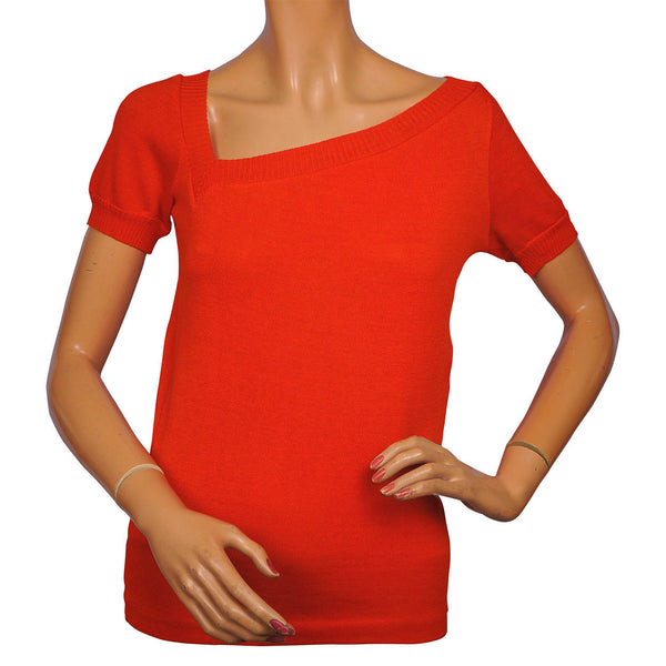 Vintage Yves Saint Laurent Red Sweater Top 1980s Rive Gauche Paris - 36 - Poppy's Vintage Clothing