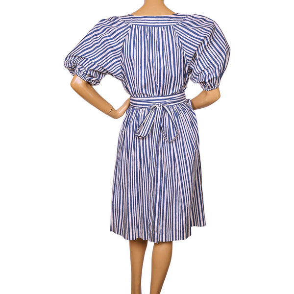 Vintage 1980s Yves St Laurent Striped Blouse Skirt 2 piece Set France Size S 34 - Poppy's Vintage Clothing