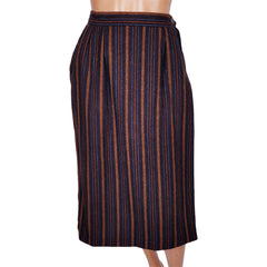 Vintage Yves Saint Laurent Striped Wool Wrap Skirt 1970s Made in France Size S - Poppy's Vintage Clothing