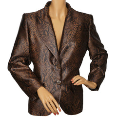 Vintage 1980s Yves St Laurent Suit Jacket Brown Snakeskin Pattern Ladies M 40 - Poppy's Vintage Clothing