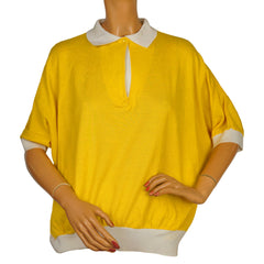 Vintage 1980s Yves Saint Laurent Top Yellow Polo Style Ladies Size L 44 - Poppy's Vintage Clothing