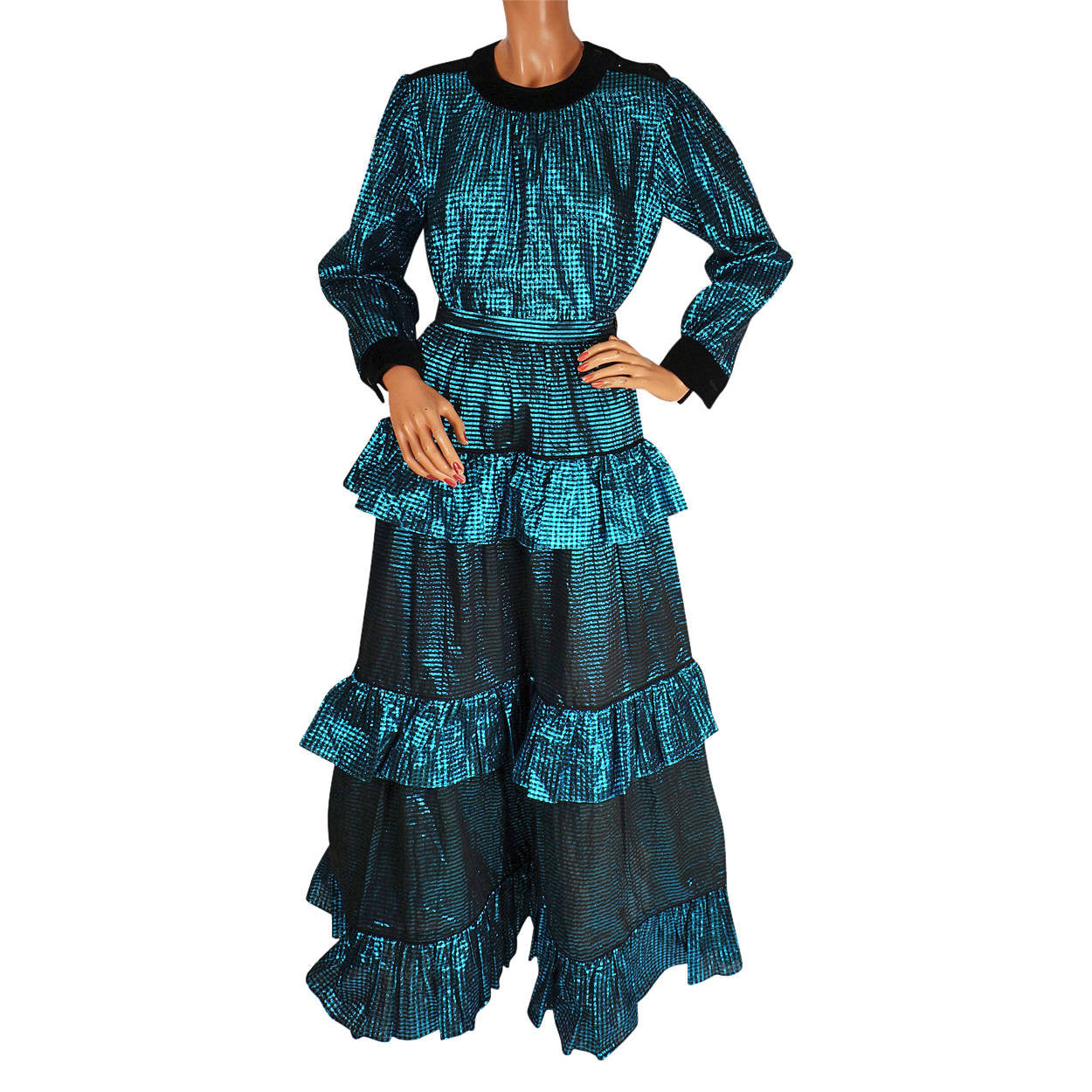 f0258e624 Vintage 1970s Yves Saint Laurent Peasant Look Blouse and Skirt - L