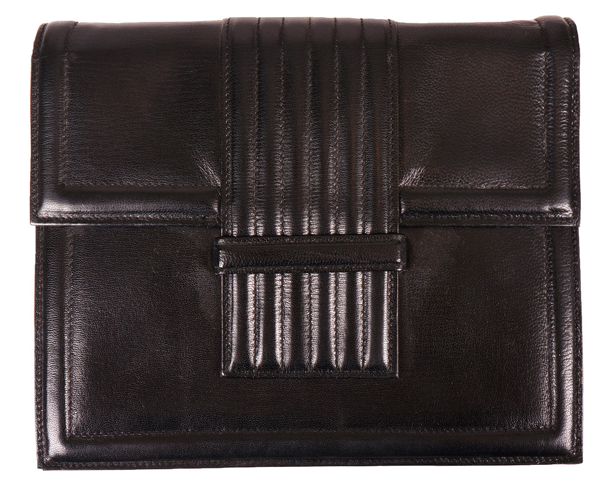 06f9bd85f0ae9 70s Vintage Clutch Purse by Yves St. Laurent Paris in Black Leather