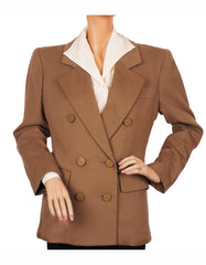Vintage 1990s Brown Wool Jacket by Yves Saint Laurent - Rive Gauche M - Poppy's Vintage Clothing
