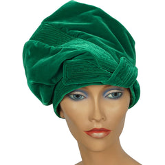 Vintage Green Velvet Turban Hat