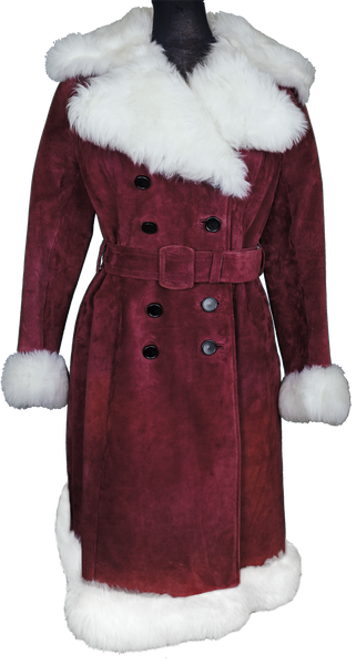 Vintage 70s Maroon Suede Coat with White Faux Fur Ladies Size S / M - Poppy's Vintage Clothing