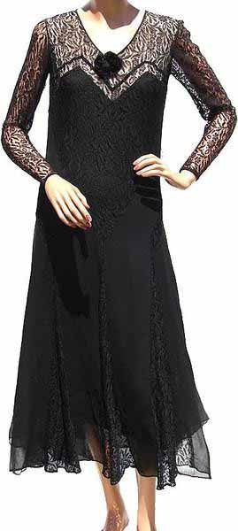 1930s Vintage Dress Art Deco Style in Black Lace and Chiffon