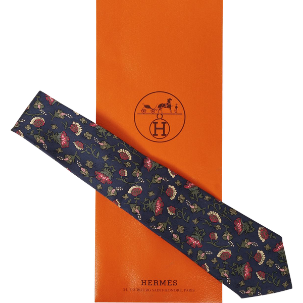 Vintage Hermes Tie - Silk Twill - Floral Pattern - 7229 - Mens Necktie - Made in France - Poppy's Vintage Clothing