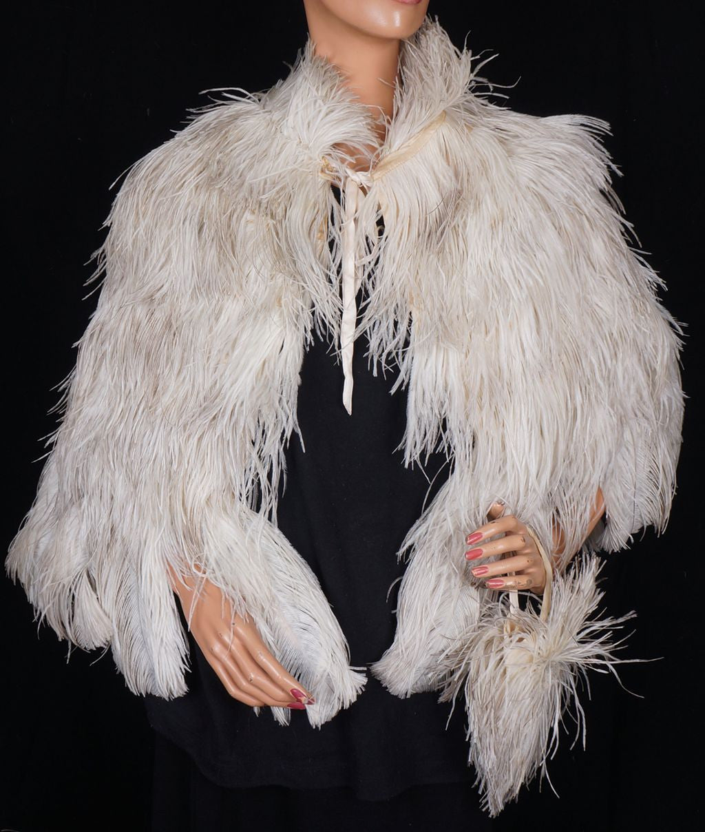 Vintage 1930s White Ostrich Feather Cape 30s Evening