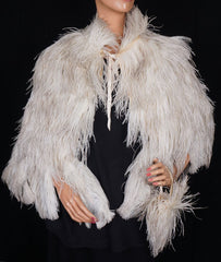 Vintage 1930s White Ostrich Feather Cape 30s Evening Capelet with Matching Purse  S / M - Poppy's Vintage Clothing